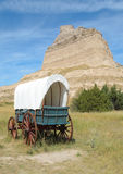 Scotts Bluff National Monument. And covered wagon Stock Photos