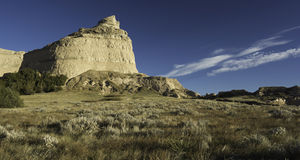 Scotts Bluff National Monument. Is located in western Nebraska.  Looking east is Eagle Rock which was used as a landmark to the early pioneers on their way west Royalty Free Stock Image