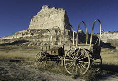 Scotts Bluff National Monument. Is located in western Nebraska.  Looking north is  Eagle Rock which was used as a landmark to the early pioneers.  Mitchell pass Royalty Free Stock Image