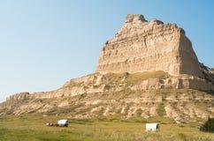 Scotts Bluff Wagon Train Headed West Oregon Trail Nebraska stock images