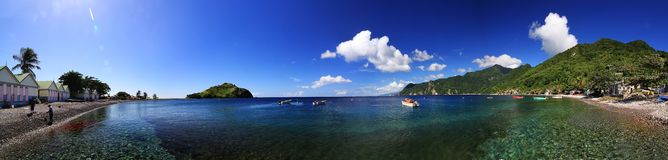 Scotts Head fishing village panorama. In Dominica Royalty Free Stock Photos