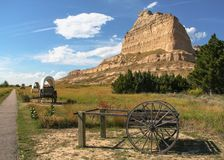 Scottsbluff Nationale Monument Behandelde Wagenssleep stock afbeelding