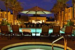 Scottsdale Arizona Resort. The bright blue pool and courtyard of a resort in Scottsdale, Arizona at dusk Royalty Free Stock Image