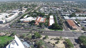 Scottsdale, Arizona, USA - Landscape Aerial shot of Scottsdale`s Resorts and Hotels. With a Road in the foreground royalty free stock photos
