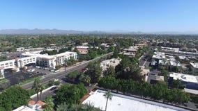 Scottsdale, Arizona, USA - Landscape Aerial shot of Scottsdale with Palm Trees and Blue Sky stock photography