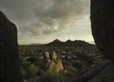 Scottsdale,Cavecreek serene majestic desert visa. Majestic serene desert landscape,Scottsdale Cavecreek Boulders area facing west Royalty Free Stock Photography
