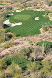 Scottsdale Golf Course. Ariel view of a scenic par 3 golf hole in Scottsdale, Arizona Royalty Free Stock Images