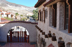 Scotty castle in death valley. Beautiful european spanish style architectural stone house courtyard Royalty Free Stock Images