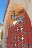 Scottys Castle - Gate Hardware & Lamp Royalty Free Stock Photos