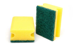Scour sponge. Yellow rub sponge for household cleaning Royalty Free Stock Photography