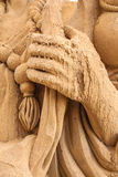 Scoured-hand of the sand sculpture Royalty Free Stock Images