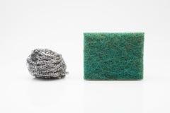 Scourer. Two scourer steel wool and green fiber Stock Photos