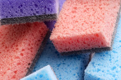 Scouring pads , cleaning items in several colors Stock Image