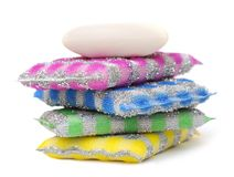 Scouring pads. 4 pack scouring pads and soap on white Stock Photo