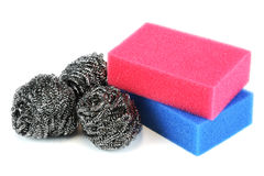 Scouring sponge and pad Royalty Free Stock Photos
