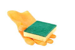 Scouring sponge on rubber glove Stock Images
