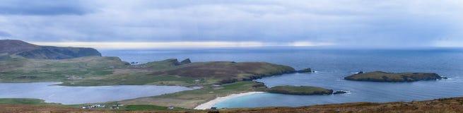 Scousburgh sandpapprar Shetland royaltyfri fotografi