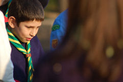 Scout. Boy scouts delivered the promise Stock Photos