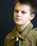 Scout with attitude. Portrait of a young scout teenage boy, serious face Stock Photos