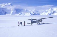 �Scout� bush airplane on glacier in St. Elias National Park and Preserve, Wrangell Mountains, Wrangell, Alaska Royalty Free Stock Image