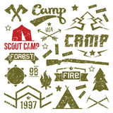 Scout camp badges. In retro style. Print on a light background Stock Image
