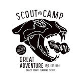 Scout camp emblem Royalty Free Stock Image