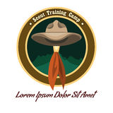 Scout camp logo. Scout camp colorful badge or logo. Drawn without meshes or gradients. Only free fonts used stock illustration