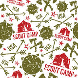 Scout camp seamless patterns. Scout camp patterns. Print on a light background Stock Photo