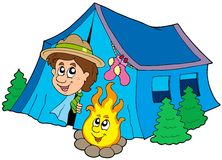 Scout camping in tent Royalty Free Stock Photos