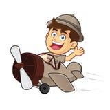 Scout de garçon ou explorateur Boy Riding Airplane Images stock
