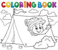 Scout de livre de coloriage dans le thème 1 de tente Photographie stock libre de droits