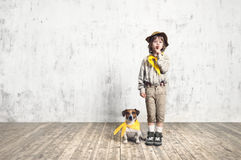 Scout with dog Royalty Free Stock Photos
