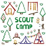 Scout forest camp card. With tent, wigwam, hut and nature elements. Hand drawing style vector illustration. Suitable for advertisement or children`s book royalty free illustration
