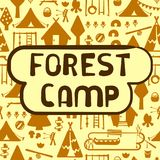 Scout forest camp card. With tent, wigwam, lake, sport equipment and nature elements. Hand drawing style vector illustration. Suitable for advertisement or royalty free illustration