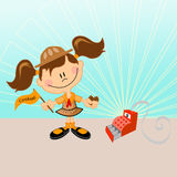 Scout Girl. Whit cookies and cash sale Stock Photography