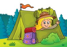 Free Scout Girl In Tent Theme 2 Stock Photos - 150297493