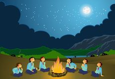 Scout Girls. On a safari night watching the lovely stars pattern in the night sky Stock Images