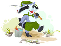 Scout goes fishing. Raccoon scout carries bucket of fish. Fisherman with fishing rod. Cartoon illustration in vector format Stock Photography