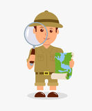Scout holding a magnifier and a map on a white background. Concept design isolated character explorer boy Stock Photos