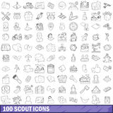 100 scout icons set, outline style. 100 scout icons set in outline style for any design vector illustration royalty free illustration