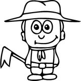 Scout kids coloring page Royalty Free Stock Images
