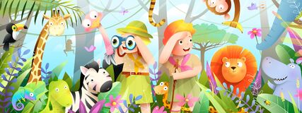 Free Scout Kids Jungle Animals And Nature Adventures Stock Photo - 220857710
