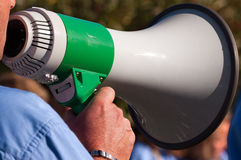 Scout Leader with a Megaphone Royalty Free Stock Images