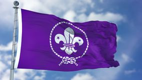 Scout Purple Waving Flag images stock