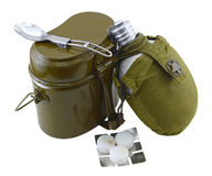 Scout set 1. Isolated scout set of food container, flask and spoon Stock Image