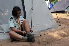 Boy scout Singapore jamboree. 4 th Asean Scout jamboree 27 Nov-4 Dec 2013 in Thailand Stock Images