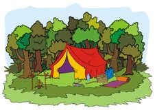 Scout tent and trees Stock Images