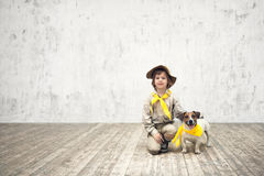 Scout and terrier Royalty Free Stock Photography