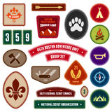 Scouting badges. Set of scouting badges and merit badges for outdoor activities Royalty Free Stock Images