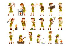 Scouting boys set, boy scouts with hiking equipment, summer camp activities vector Illustrations on a white background. Scouting boys set, boy scouts with hiking vector illustration